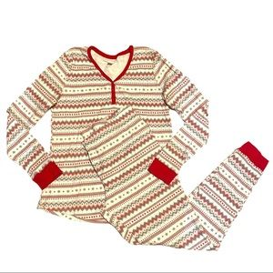 LC Lauren Conrad Nordic Stripe Pajama Set Red L